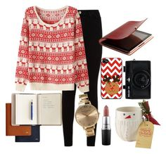 """""""Cozy Christmas outfit"""" by hollyemma22 on Polyvore featuring 7 For All Mankind, MAC Cosmetics, Olivia Burton and Holga"""