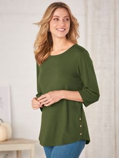 Sleeve Types, Types Of Sleeves, Favorite Color, Tees, Shirts, Neckline, Tunic Tops, Buttons, Knitting