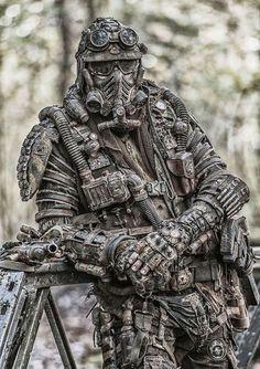 Post-apocalypse DIY look. Post Apocalypse, Apocalypse Survival, Apocalypse Costume, Post Apocalyptic Costume, Tactical Armor, Military Special Forces, Futuristic Armour, Combat Gear, Future Soldier