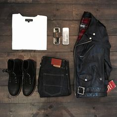 Outfit grid - Schott Perfecto jacket