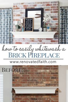 """How to Whitewash a Fireplace – Get the look of the German Smear or """"Mortar., How to Whitewash a Fireplace – Get the look of the German Smear or """"Mortar wash"""" with paint and this easy tutorial. Update your brick fire. White Wash Brick Fireplace, Brick Fireplace Makeover, Diy Fireplace, Fireplace Mortar, Brick Fireplaces, Stove Fireplace, Home Renovation, Home Remodeling, Sell Your House Fast"""
