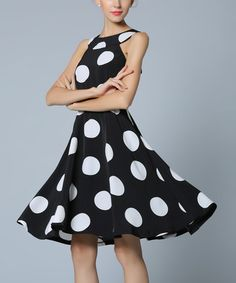 Another great find on #zulily! Black & White Polka Dot Fit & Flare Dress #zulilyfinds