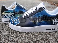 Channel Alicia Keys and Jay Z with these custom made New York sneakers!    hand-painted Custom New York City Skyline Air Force Ones    These speak for themselves!