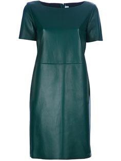 YVES SAINT LAURENT Short Sleeve Shift Dress. Colored Leather