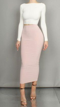 Stylish Long Skirt Spring Outfits Ideas 24 Source by Classy Outfits, Sexy Outfits, Stylish Outfits, Stylish Clothes, Modest Outfits, Long Skirt Outfits, Pencil Skirt Outfits, Long Pencil Skirt, Pencil Skirts