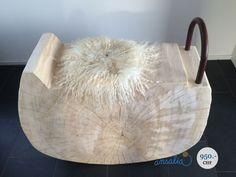 """Ein Unikat: die Schaukel aus einheimischer Pappel von """"naturwerke""""! Diese kann auch als Beistelltisch oder Stuhl gebraucht werden."""