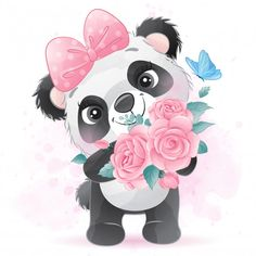 Cute little panda holding a rose Watercolor Flower Background, Watercolor Rose, Baby Animal Drawings, Cute Drawings, Cartoon Wallpaper, Image Panda, Panda Lindo, Baby Animals, Cute Animals