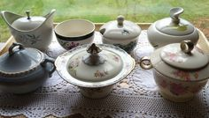 A collection of vintage sugar dishes are ready for coffee or tea! - Southern Vintage Table