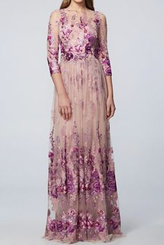 David Meister Pink Lavender Floral Sleeve Evening Gown dress | Poshare