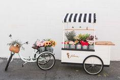 Flora Flower Cart - Make your own bouquet! A little cart travelling around selli. - Flora Flower Cart – Make your own bouquet! A little cart travelling around selling flowers. French Flowers, Exotic Flowers, Diy Flowers, Vintage Flowers, Flower Truck, Flower Cart, Flower Shop Names, Flower Shops, Flower Shop Interiors