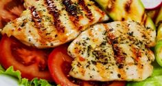 Grilled Minty Chicken With Veggie Salad Recipe - Juicy chicken breasts marinated with olive oil, lime and mint leave and grilled to perfection. Serve a fresh veggie salad to round off the dish.