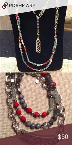 Red/blue premier Designs necklace/bracelet combo Beautiful red and blue premier Designs necklace and bracelet bundle! Jewelry Necklaces