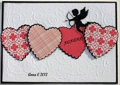 Valentine hearts w/cupid card