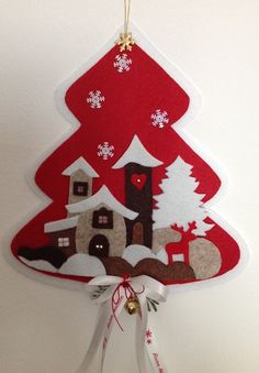 Christmas tree outside the door in felt- Christmas tree outside the door in felt - Christmas Stocking Pattern, Felt Christmas Ornaments, Etsy Christmas, Christmas Mood, Christmas Wreaths, Christmas Crafts, Christmas Decorations Sewing, Felt Decorations, 242