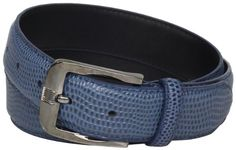 Stacy Adams Men s 32mm Genuine Leather Lizard Skin Print Belt With Brushed  Nickle Buckle, Blue 1eae5f45884