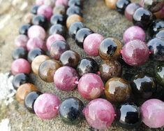 Natural Tourmaline Beads Round Etsy :: Your place to buy and sell all things handmade Crystals And Gemstones, Crystal Beads, Gemstone Beads, Natural Gemstones, Handcrafted Jewelry, Unique Jewelry, Handmade, Beaded Jewelry, Beaded Bracelets