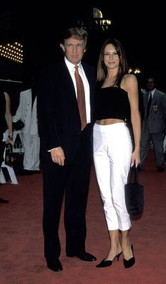 Donald Trump and Melania Knauss during 'Bowfinger' New York Premiere at Ziegfeld Theater in New York City New York United States