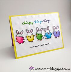 Chirpy-Chirp-Chirp....A cute card featuring the Lawn Fawn Chirpy Chirp stamp. Rainbow chicks dressing up as bunny rabbits.