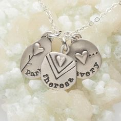 Oh so sweet! Celebrate love with this artisan necklace. Each charm reflects deep sentiment and can be personalized with a name or date. Hand-crafted and sure to become a favorite!