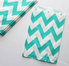 Chevron Favor Bags 20 Aqua Green Wedding Candy Buffet Baby Shower Paper Goods Favors Kids Birthday Party Carnival Popcorn w/ straw flags on Etsy, $5.99