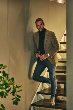 """The Casual Collection """"One of our favourite smart casual looks, presented here from our shoot with Pete Wicks. We've had some great feedback on this outfit, what's yours? Get the look - click this Pin Mens Smart Casual Outfits, Smart Casual Menswear, Men Casual, Men's Smart Casual, Smart Casual Men Winter, Casual Look For Men, Mens Winter, Casual Styles, Simple Outfits"""