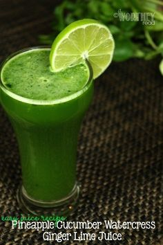 Juicing has taken a new lease on life! If you're looking for easy juice recipes, here's a great one with cucumbers, pineapples, watercress and lime! The benefits of juicing are just amazing! Save to your board and check out this easy juice recipe!