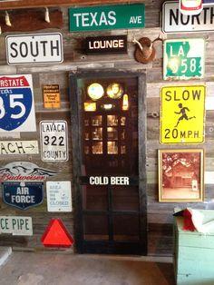 Entry to garage bar from garage side - Modern Man Cave Diy, Man Cave Home Bar, Garage Makeover, Backyard Makeover, Garage Party, Car Garage, Man Cave Posters, Garage Transformation, Garage Door Colors