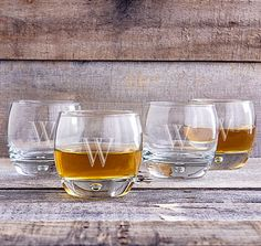 Add these Heavy Based Personalized Whiskey Glasses to your home bar to complete your set.