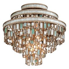 View the Corbett Lighting 142-33 Dolcetti 3 Light Semi-Flush Ceiling Fixture with Hand Crafted Iron Frame and Mixed Shells, Crystal and Art Glass Accents at Build.com.