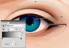 In today& tutorial I& going to show you how to create a detailed eye from a stock image in Adobe Illustrator. We& work from some basic skin shading around the eye, to eyelashes, then a detailed. Graphic Design Lessons, Graphic Design Tutorials, Web Design, Tool Design, Design Process, Vector Design, Blue Drawings, Eye Illustration, Vintage Typography