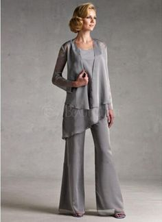 Cheap mothers mother, Buy Quality brides mother directly from China mother of bride Suppliers: Custom Made Classic Silver/Gray Chiffon Mother Of The Bride Pant Suits Mother Of The Bride Dress With Jacket Vestido De Madrinha Mother Of The Bride Plus Size, Mother Of The Bride Suits, Mother Of Groom Dresses, Mothers Dresses, Bride Dresses, Bride Groom Dress, Linen Dresses, Beach Wedding Attire, Wedding Party Dresses