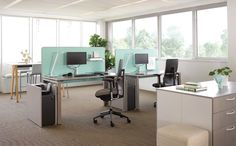 Divisio Frameless Screen creates a warm and welcoming atmosphere bringing smooth visual boundaries within workstations. Arch Interior, Interior Design, Space Dividers, Office Workstations, Office Table, Office Interiors, Office Furniture, Desk, Home Decor