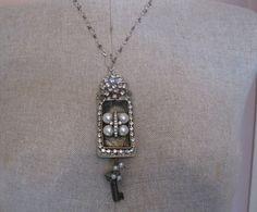 etched metal vintage rhinestone sterling by mollyheltsleydesigns, $95.00