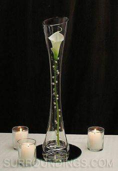 Pearled calla lily in Maria vase candle centerpiece wedding arrangement ikebana Candle Centerpieces, Wedding Centerpieces, Wedding Table, Wedding Decorations, Calla Centerpiece, Simple Centerpieces, Graduation Centerpiece, Quinceanera Centerpieces, Wedding Ideas