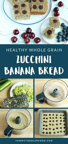 Combine the best of both worlds with Zucchini Banana Bread! With whole grains, fruits, veggies, and just enough chocolate, your family will love this for breakfast or snack time. (And it takes less than 30 minutes to bake! Zucchini Banana Bread, Toddler Lunches, Toddler Smoothies, Toddler Food, Baby Food Combinations, 16 Bars, Thing 1, Hidden Veggies, Baby Food Recipes