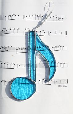 Stained Glass Sky Blue Music Note Suncatcher with crystal beading -  Gift Made in Ireland