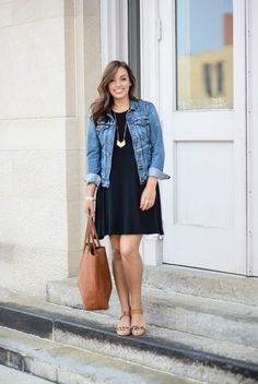 Swing dress and denim jacket, cute and casual. Can be dressed up or dressed down. Swing dress and denim jacket, cute and casual. Can be dressed up or dressed down. How To Wear Denim Jacket, Dress With Jean Jacket, Jean Jacket Outfits, Denim Jacket Outfit Summer, Summer Denim, Old Navy Jean Jacket, Jacket Jeans, Spring Summer, Navy Jacket