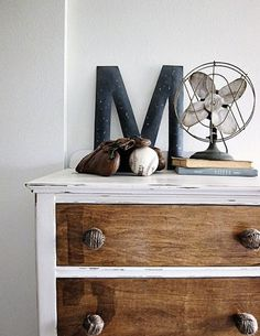 boy rustic vintage nursery Nursery Inspiration - Boy - Our Hiding Place Boy Dresser, Dresser As Nightstand, Dresser Knobs, Dresser Refinish, Nursery Dresser, Bedroom Dressers, Nightstands, Nursery Inspiration, Furniture Inspiration