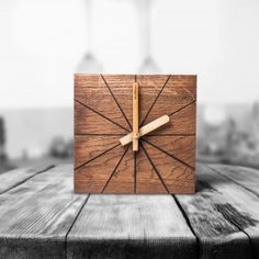 new wooden table and wall clock Wood Clocks, Wooden Tables, Natural Wood, Woodworking, Interior Design, Wall, Ideas, Wood Tables, Nest Design