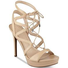 Guess Women's Aurela Strappy Lace-Up Platform Dress Sandals ($99) ❤ liked on Polyvore featuring shoes, sandals, natural, strappy dress sandals, platform stilettos, strappy sandals, dress sandals and strappy platform sandals