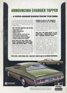 1971 Dodge Charger Topper - Productioncars.com