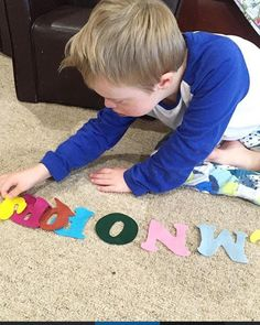 Felt letter fun! Felt letters can be used in many ways- to spell a child's name, make words, learn the alphabet, play with on a felt board or to decorate…