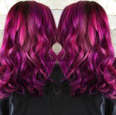 Spectacular raspberry hair color by Tara Bonhomme. Balayage Ombre Raspberry pink hair color fb.com/hotonbeautymagazine Mermaid hair