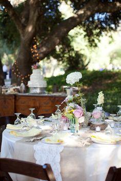 romantic table spread and decor