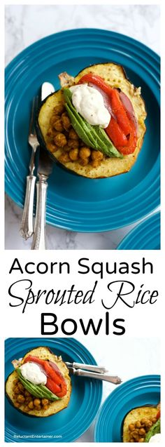Acorn Squash Sprouted Rice Bowls are filled with spiced garbanzo beans, sliced avocado, and veggies, with a dollop of tahini.