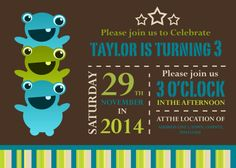 Monster Invitation Designed by me at Nic's Designs.