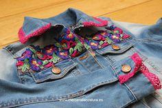 DIY customizations from basic garments - Mercería La Costura Ropa Shabby Chic, Denim Decor, Denim Vests, Denim Jackets, Hippy Fashion, Denim Crafts, Recycled Fashion, Denim And Lace, Embroidered Jacket
