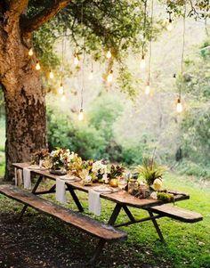 13 Gluehbirnen Hochzeitsdekoration rustikal laendliche hochzeit Hochzeit Deko Idee – Lichthochzeit mit Kerzen oder Lampen