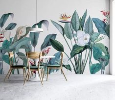 Monstera mural on dark background. Non-woven wall mural in standard or custom sizes. This Monstera mural wallpaper brings nature feelings to your spaces. Wallpaper Wall, Plant Wallpaper, Modern Wallpaper, Textured Wallpaper, Custom Wallpaper, Photo Wallpaper, Bedroom Wallpaper, Tropical Wallpaper, Watercolor Wallpaper