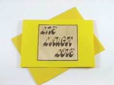 Blank Greeting Card  Wood Pyrography  Live Laugh by bkinspired, $6.00